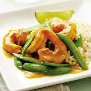 Shrimp with Snap Pea in Curry